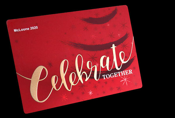 decorated metal holiday card 2020 embossed graphics