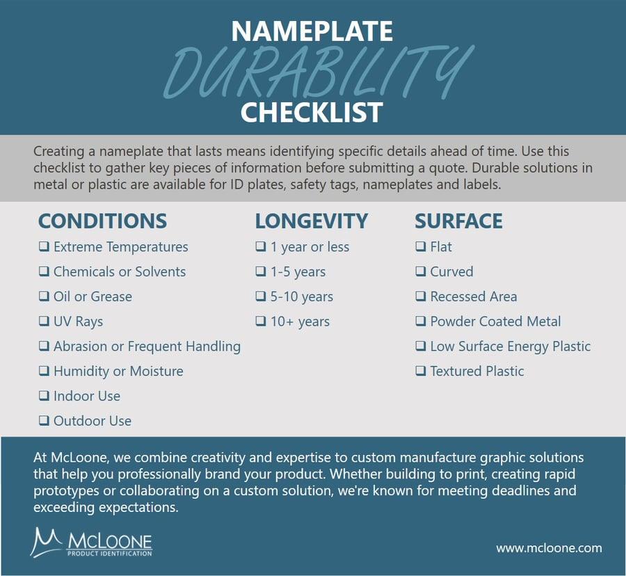 Nameplate Durability Checklist Infographic 050621