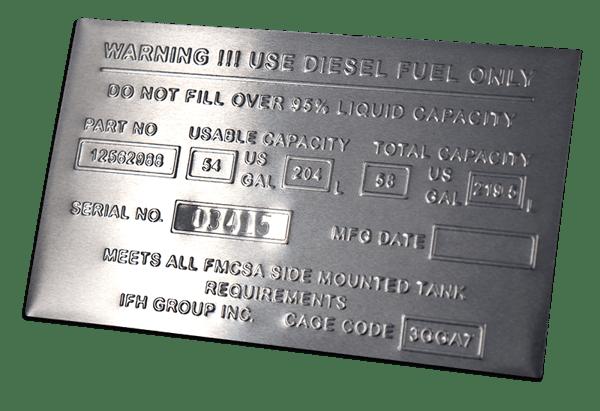 embossed metal data plate