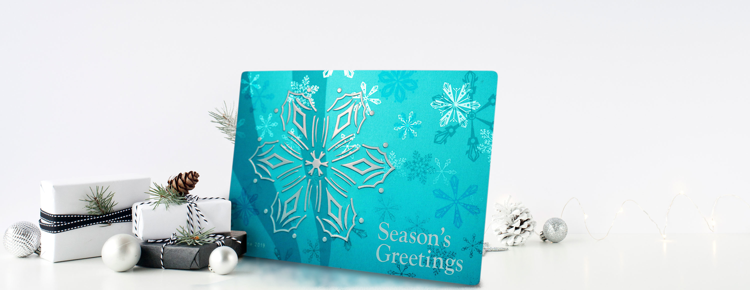 Holiday Card Inspired by Glistening Snowflakes and Water Tumblers