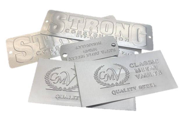 Blind Embossed Aluminum Nameplates and Industrial Tags